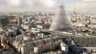 Projet de la Tour Triangle des architectes suisses Herzog et de Meuron. Tour triangulaire de 180 mètres de haut.