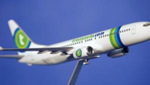 Une maquette d'un avion Transavia, filiale d'Air France.