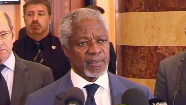 Kofi Annan à Damas après avoir rencontré Bachar al-Assad, 9/7/12