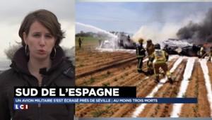 Un avion militaire s'écrase à Séville, 6 personnes à bord et 4 morts