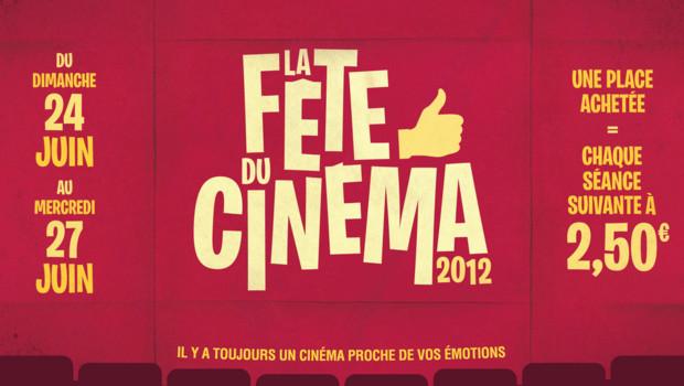 Affiche de la Fête du Cinéma 2012 : du 24 au 27 juin