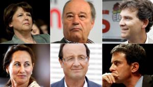Les candidats à la primaire PS : en haut, Martine Aubry, Jean-Michel Baylet, Arnaud Montebourg ; en bas, Ségolène Royal, François Hollande, Manuel Valls