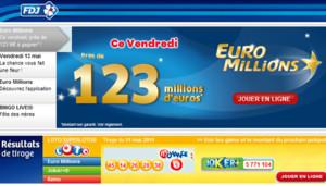 Capture d'écran du site de la française des jeux, le 12 mai 2011.