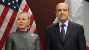 Hillary Clinton et Alain Juppé le 31 janvier 2012 à New York.
