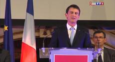 """Le 13 heures du 27 mars 2015 : En meeting à Tours, Valls accuse Sarkozy de """"courir derrière le FN"""" - 1111.911"""