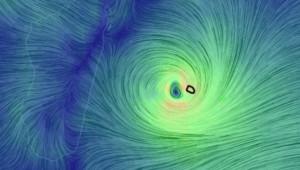 L'oeil du cyclone Bejisa à l'ouest de l'île de La Réunion (Earth/NCEP/NOAA/US national Weather Service)