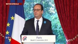 """Commémorations du 11 novembre : """"La mémoire d'un pays est au service de son avenir"""" selon Hollande"""