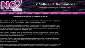 """Capture écran le 8 juillet 2011 au soir du site de la discothèque du Doubs annonçant une """"tromperie"""" sur la présence des Black Eyed Peas au complet"""