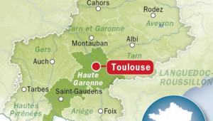 Carte de Toulouse, en Haute-Garonne