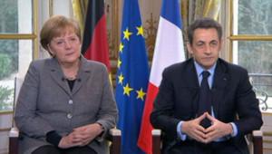 Nicolas Sarkozy et Angela Merkel interviewés par France 2, le 6 février 2012.