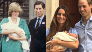 Montage MYTF1News de la sortie de la maternité de Diana et Charles en 1982 et de Kate et William en 2013