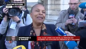 """Taubira : """"Dominique Baudis était """"un homme d'une envergure extraordinaire"""""""