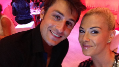 Brian Joubert et Katrina Patchett lors de la conférence de presse de Danse avec les stars le 10 septembre 2014