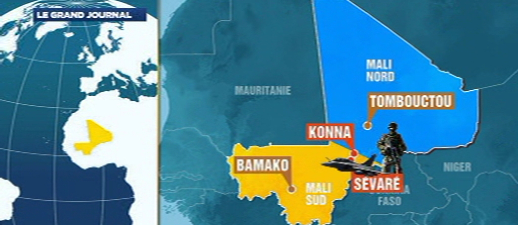 Carte du Mali avec Konna, ville prise par les islamites le 10/1/13