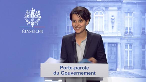 Najat Vallaud-Belkacem, lors de sa première intervention en tant que porte-parole du gouvernement, le 17 mai 2012.