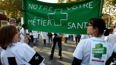 Les pharmaciens dans la rue pour protester contre la réforme des professions réglementées. (30/09/2014)
