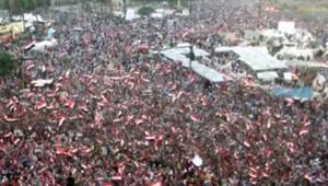 Liesse place Tahrir au Caire après l'ultimatum lancé par l'armée au pouvoir, le 1er juillet 2013
