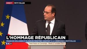 """Hommage en Gironde : """"Ils étaient notre patrimoine"""", déclare Hollande"""