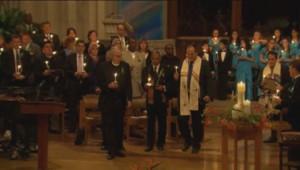 Cérémonie à la mémoire des 26 personnes tuées à l'école de Newtown.