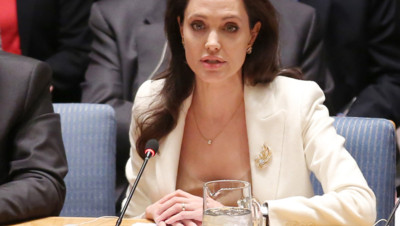 Angelina Jolie évoque le sort des réfugiés syriens devant le Conseil de sécurité de l'ONU, le 24 avril 2015, à New York.