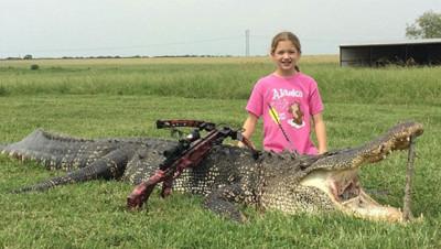 Alligator chassée par une fillette de 10 ans au Texas - Photo sur Facebook