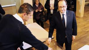 François Hollande vote aux Départementales à Tulle, 22/3/15