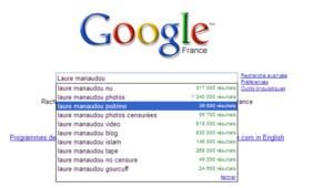 Google suggest pas tendre avec Laure Manaudou