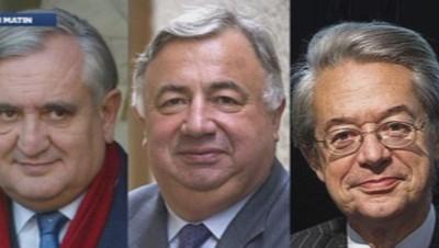 Photomontage, de g. à d. : Jean-Pierre Raffarin, Gérard Larcher et Philippe Marini