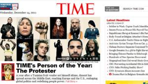 """""""Une"""" du site de Time Magazine, 14/12/11"""