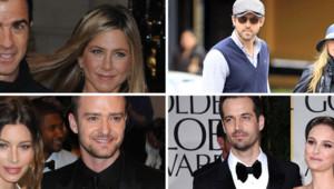 De gauche à droite, de haut en bas : Justin Theroux et Jennifer Aniston, Ryon Reynolds et Blake Lively, Jessica Biel et Justin Timberlake, Benjamin Millepied et Natalie Portman