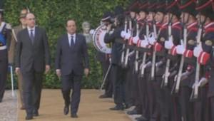 François Hollande arrive au sommet franco-italien à Rome.