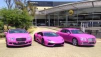 Deux Bentley et la très spectaculaire Lamborghini Huracàn peintes en rose par un concessionnaire sud-africain pour soutenir la lutte contre le cancer du sein.