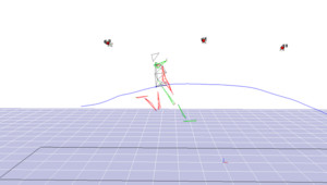 Image de motion capture utilisée pour étudier le mouvement du corps d'Arnaud Assoumani pour la création de sa prothèse pour l'athlétisme.