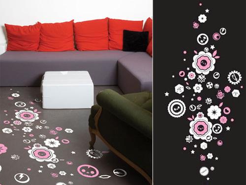 Stickers sol : fleurs