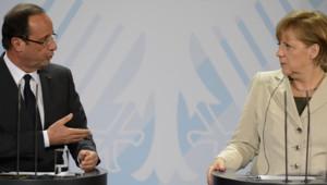 Angela Merkel et François Hollande lors de leur première rencontre à Berlin, le 15 mai 2012.