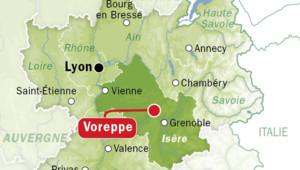 Carte de localisation de Voreppe en Isère.