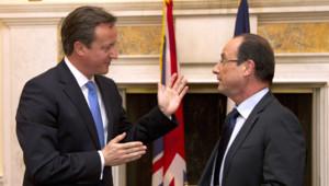 David Cameron (g.) et François Hollande, à Washington, le 18/5/12