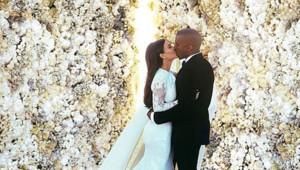 Kim Kardashian et Kanye West lors de leur mariage en mai 2014