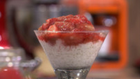 Riz au lait fraise et rhubarbe