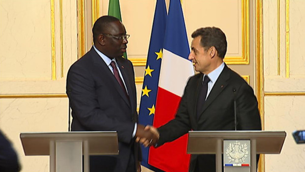 Macky Sall et Nicolas Sarkozy,  l&#039;Elyse, le 18/4/12