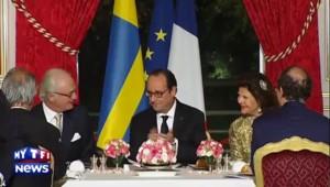 Hollande trinque avec le roi et la reine de Suède