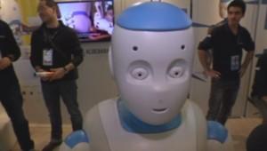 Le robot Roméo, lors du salon Innorobo du 18 au 20 mars à Lyon.