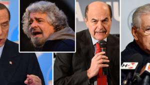 Photo-montage, de gauche à droite : Silvio Berlusconi, Bepe Grillo (en médaillon), Pier Luigi Bersani, Mario Monti