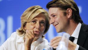 Valérie Pécresse s'entretient avec François Baroin, lors du campus des jeunes populaires en septembre 2011.