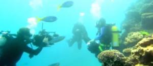 Scientifiques filmant les fonds sous-marins