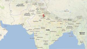 Carte de l'Inde avec Noida, dans l'Etat de l'Uttard Pradesh