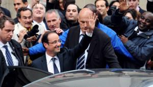 """Hollande quitte son """"QG de transition"""", le 7 mai 2012."""