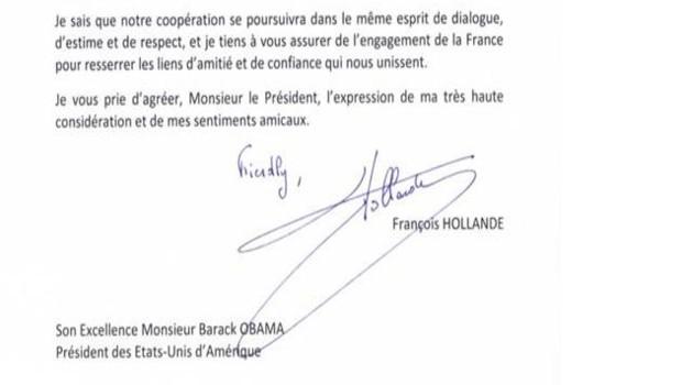 La lettre de François Hollande à Barack Obama après sa victoire, le 7 novembre 2012 telle que publiée sur le compte Facebook de l'Elysée.