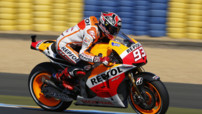 Marc Marquez (Honda), lors des Essais du GP Moto de France au Mans, le 17 mai 2013.