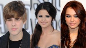 Justin Bieber Selena Gomez Miley Cyrus